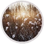 Setting Sun In Winter Forest Round Beach Towel