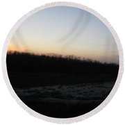Setting Sun On The Dried Up Red River Round Beach Towel