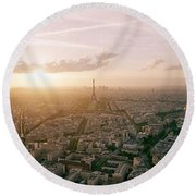 Setting Sun Over Paris Round Beach Towel