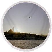 Setting Sun Over Istanbul Round Beach Towel