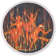 Setting The Stage On Fire Round Beach Towel
