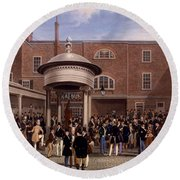 Settling Day At Tattersalls, Print Made Round Beach Towel