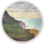 Seurat's Seascape At Port Bessin In Normandy Round Beach Towel