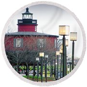 Seven Foot Knoll Lighthouse Round Beach Towel