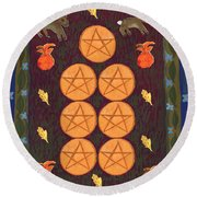 Seven Of Pentacles Round Beach Towel