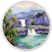 Seven Sacred Pools Round Beach Towel