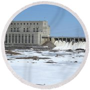 Seven Sisters Falls Damn Round Beach Towel