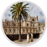 Seville Cathedral In Spain Round Beach Towel