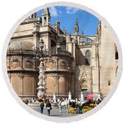 Seville Cathedral In The Old Town Round Beach Towel