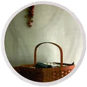 Sewing Basket In Sunlight Round Beach Towel