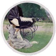 Sewing In The Sun, 1913 Round Beach Towel