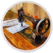 Sewing Machine With Orange Thread Round Beach Towel
