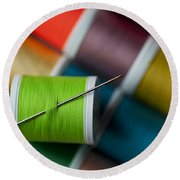 Sewing Needle With Bright Colored Spools Round Beach Towel
