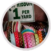 Sewing - Ribbon By The Yard Round Beach Towel by Mike Savad