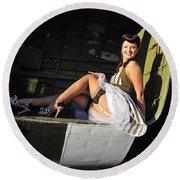 Sexy 1940s Style Pin-up Girl Sitting Round Beach Towel by Christian Kieffer
