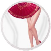 Sexy Asian Woman With Red Oriental Umbrella Round Beach Towel