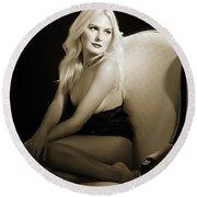 Sexy Fine Art Blond Girl In Chair 1285.01 Round Beach Towel
