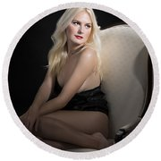 Sexy Fine Art Blond Girl In Chair 1285.02 Round Beach Towel