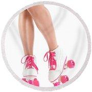 Sexy Girl Legs In White Pink Roller Skates Round Beach Towel