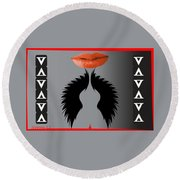 Sexy Lady Bird Lips Red White Black Expressions Round Beach Towel