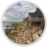 Shack On The Sound Round Beach Towel
