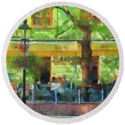 Shaded Cafe Round Beach Towel by Jeff Kolker