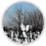 Shades Of A Gothic Winter Round Beach Towel