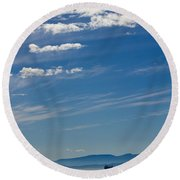 Blue Skies And Bluer Seas Round Beach Towel