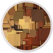 Shades Of Brown Round Beach Towel by Lourry Legarde
