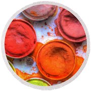 Shades Of Orange Watercolor Round Beach Towel by Heidi Smith