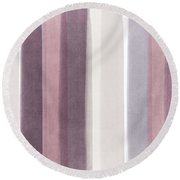 Shades Of Purple- Contemporary Abstract Painting Round Beach Towel by Linda Woods