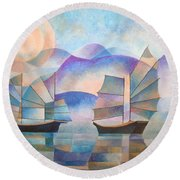 Shades Of Tranquility Round Beach Towel