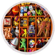 Shadow Box Full Of Toys Round Beach Towel