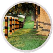 Shadow Fencing Round Beach Towel