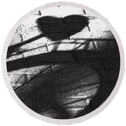 Shadow Heart Advanced Pencil Round Beach Towel