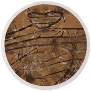 Shadow Heart Chalk Sketch On Brown Paper Round Beach Towel