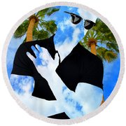 Shadow Man Palm Springs Round Beach Towel