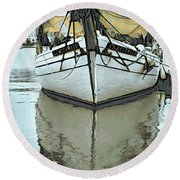 Shadow Of Boat Round Beach Towel