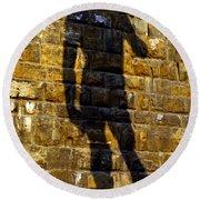 Shadow Of Michaelangelo's David Round Beach Towel