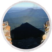 M-05715-shadow Of Mt. Mcloughlin Round Beach Towel