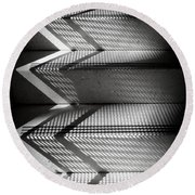 Shadow Play - Black And White Round Beach Towel