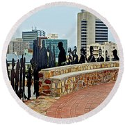 Shadow Representations Of People Coming To The Port In Donkin Reserve In Port Elizabeth-south Africa   Round Beach Towel