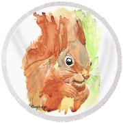 Shadow Tail Red Squirrel Round Beach Towel