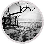 Shadow Tree Round Beach Towel