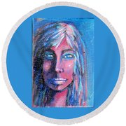 Shadow Woman Round Beach Towel