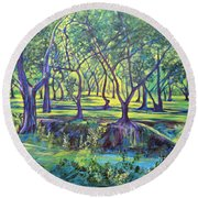 Shadows At Noon - Indian Landscapes Round Beach Towel