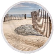 Shadows In The Sand II Round Beach Towel