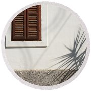 Shadows On Old House. Round Beach Towel