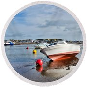 Shaldon-teignmouth Harbour 3 Round Beach Towel