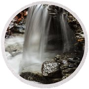 Shale Creek Waterfall Round Beach Towel
